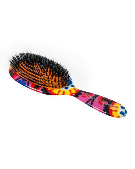 Large Paisley Black & Pink Mixed-Bristle Hairbrush