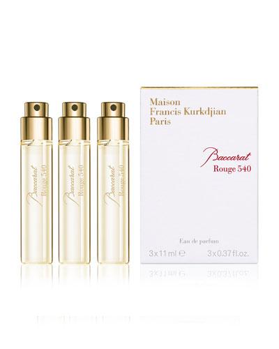 Baccarat Rouge 540 Eau de Parfum Travel Spray Refills, 3 x 0.37 oz./ 11 mL