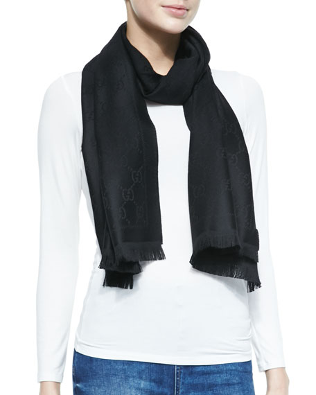 GG Pattern Scarf, Black
