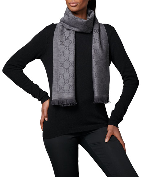 GG Pattern Scarf, Anthracite