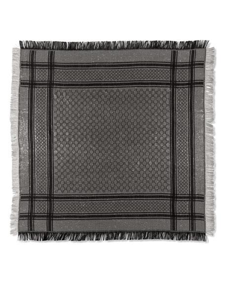 Shimmer GG Pattern Shawl, Gray/Silver