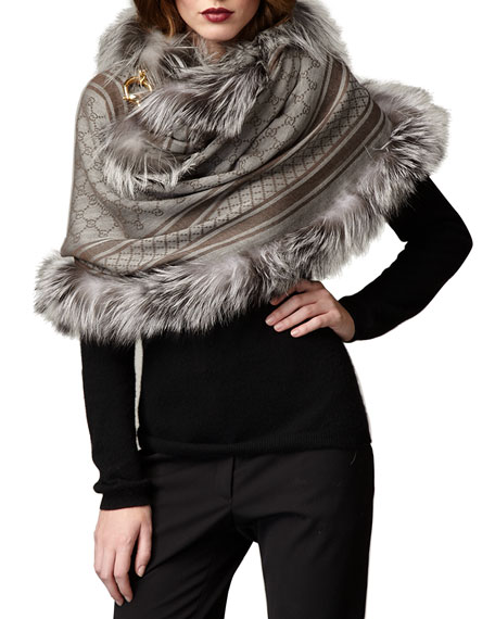 GG Pattern Fur-Trim Stole
