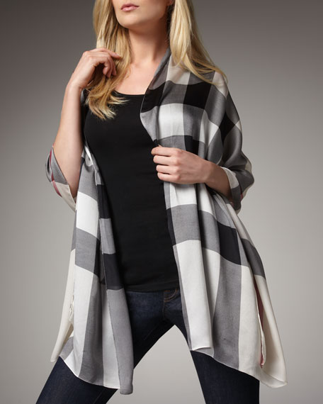 Mega Check Silk Stole, Trench