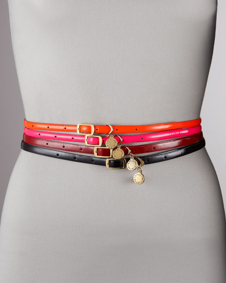 Logo-Charm Faux Leather Belt