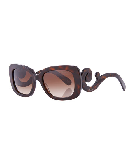 Curved-Temple Sunglasses, Pink