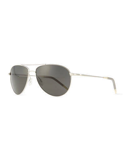 Oliver Peoples Benedict Basic Polarized Aviators, Silver/Gray