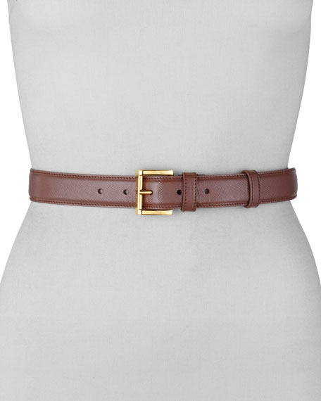 Saffiano Vernice Dress Belt, Dark Rose