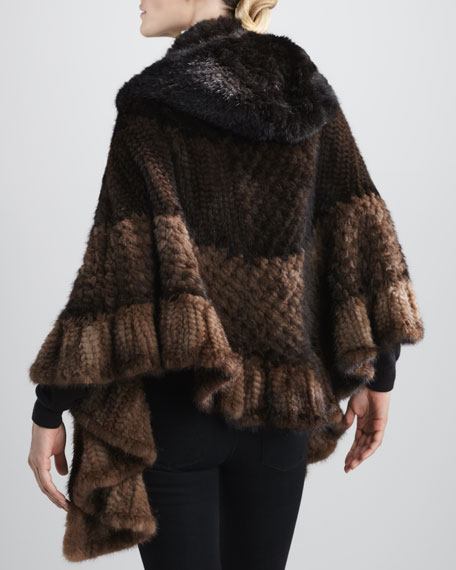 Chevron Knitted Mink Fur Cape
