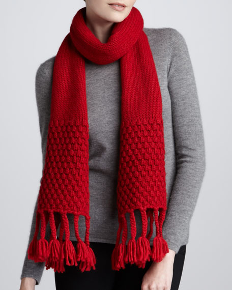 Braided-Fringe Knit Scarf