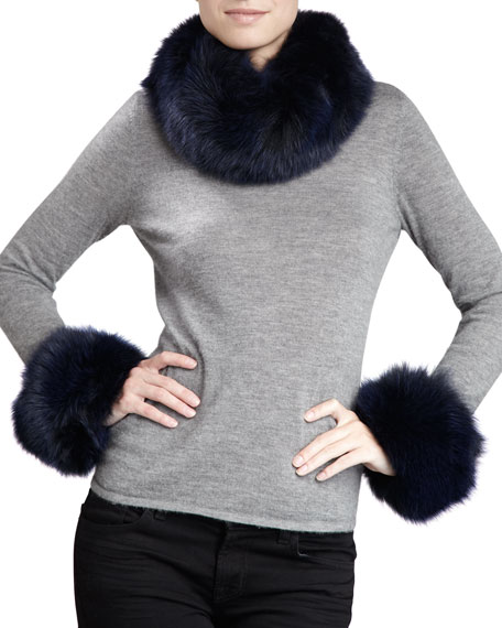 Fox Fur Cuffs, Navy