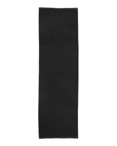 Pom-Pom Trim Satin-Weave Stole, Black