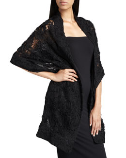 Ilana Wolf Ribbon-Lace Wrap, Black