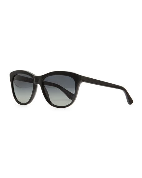 Reigh Semi-Round Sunglasses, Black