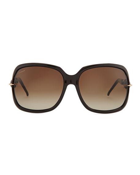 Open-Temple Square Sunglasses, Cocoa