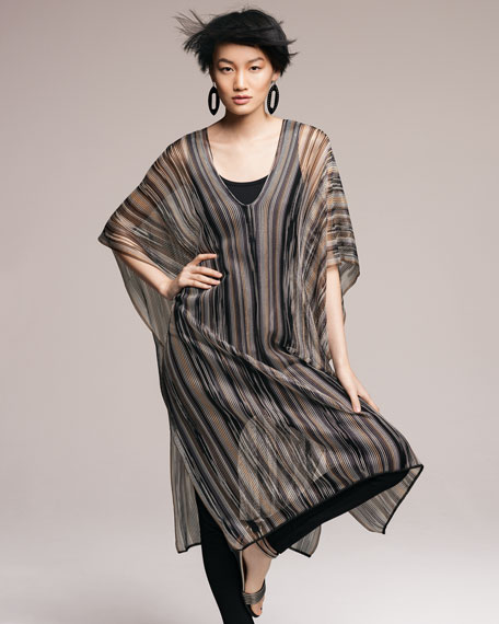Long Lightweight Sheer Striped Poncho, Black/Gray