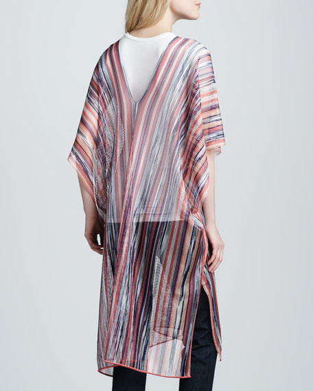 Long Lightweight Sheer Striped Poncho, Peacock/Pink