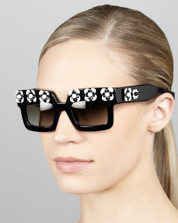 Prada Flower Square Sunglasses, Black/White