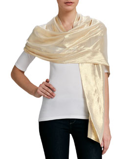 Ilana Wolf Metallic Silk Stole, Gold