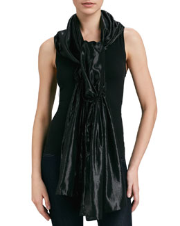 Ilana Wolf Gathered Metallic Silk Stole, Black