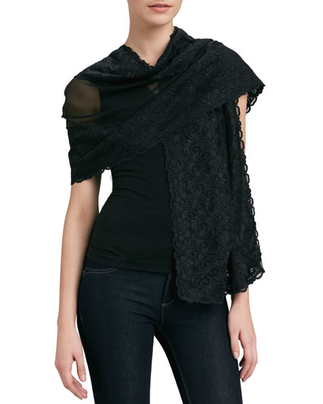 Lace-Trimmed Chiffon Stole, Black