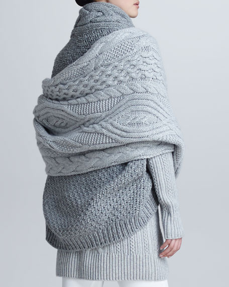 Allover Cable-Knit Cashmere Scarf