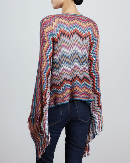 Lightweight Zigzag Knit Poncho, Green/Orange/Purple
