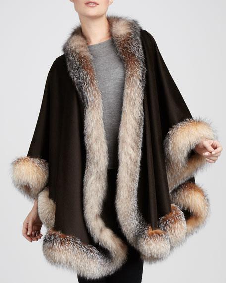 Fox Fur-Trimmed Cashmere U-Cape, Chocolate