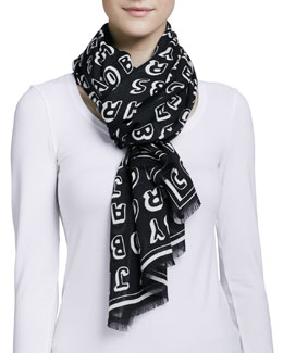 MARC by Marc Jacobs Dynamite Logo Scarf, Black