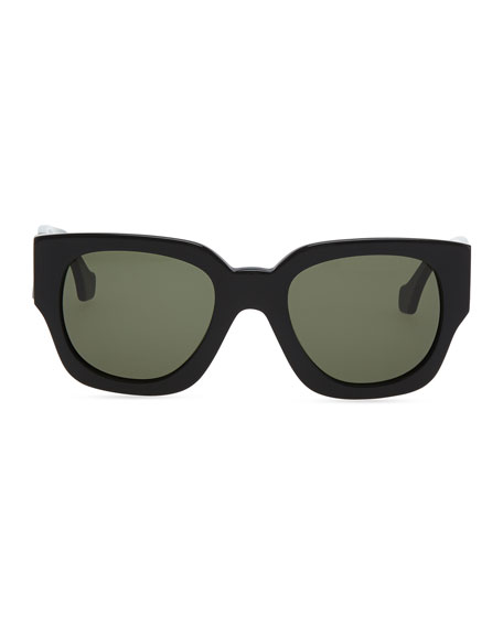 Thick Square Acetate Sunglasses, Black/Green