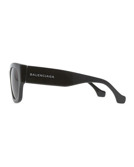 Thick Square Acetate Sunglasses, Black/Green
