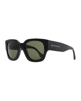 Balenciaga Thick Square Acetate Sunglasses, Black/Green