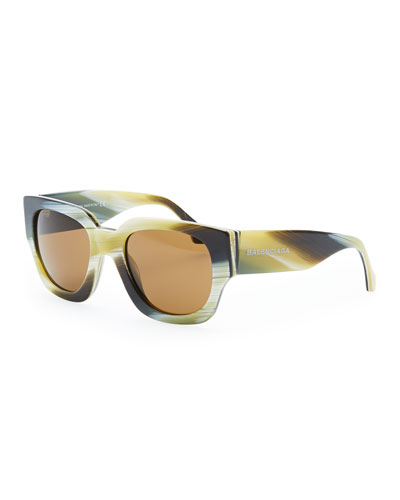 Balenciaga Thick Square Acetate Sunglasses, Yellow Faux Horn
