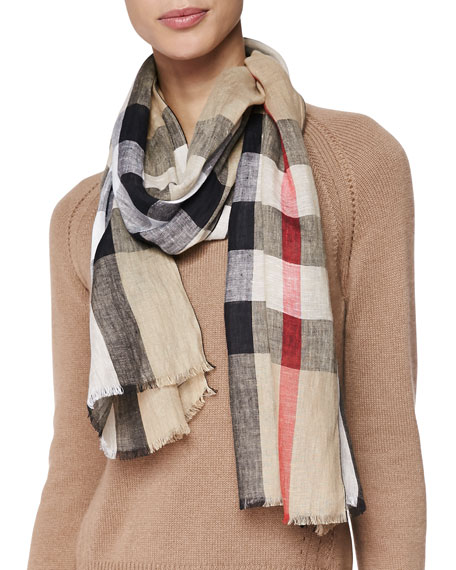 Exploded Check Linen Scarf