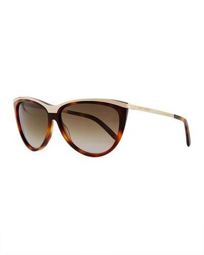 Saint Laurent Metal-Brow Cat-Eye Sunglasses, Havana