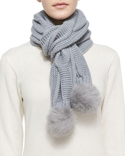 Nyla Cable Knit Scarf with Shearling Fur Pompom, Gray