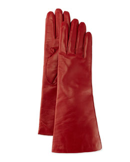 Portolano Cashmere-Lined Leather Gloves, Red