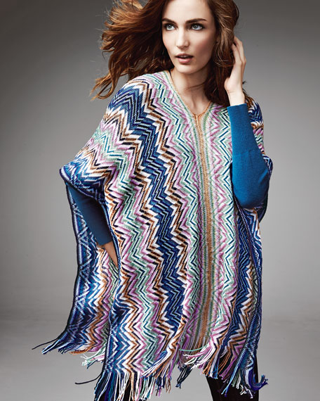 Zigzag Knit Poncho with Fringe, Blue/Multi