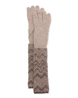 Metallic Zigzag Knit Gloves, Silver