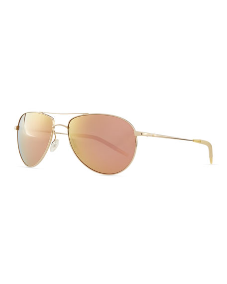 Benedict 59 Mirrored Aviator Sunglasses, Gold/Lilac