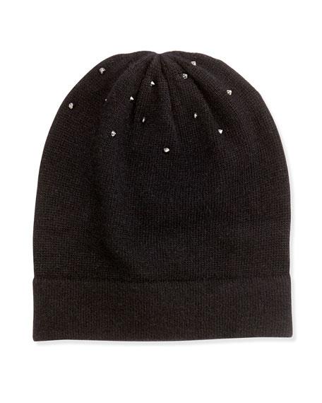 Studded Knit Hat, Black