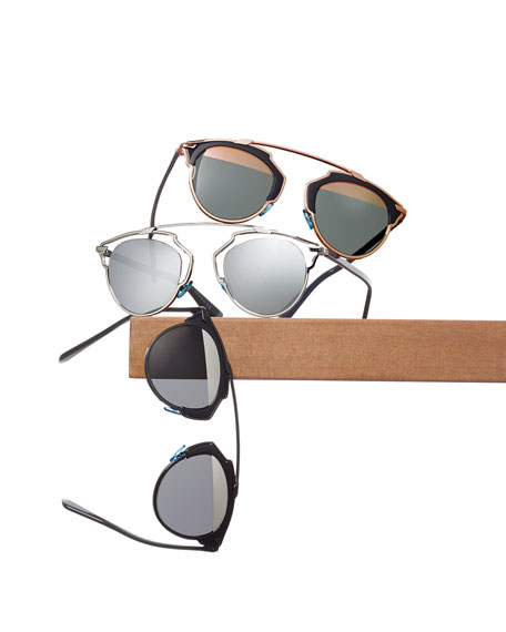 Dior So Real Brow Bar Sunglasses, Dark Blue