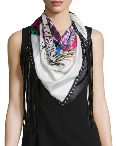 Printed Scarf w/Leather Fringe, Nero