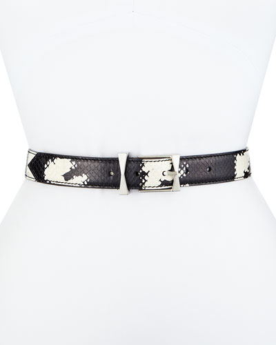 Thin Watersnake Belt, Black/White