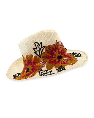 Floral Embroidered Straw Canvas Hat