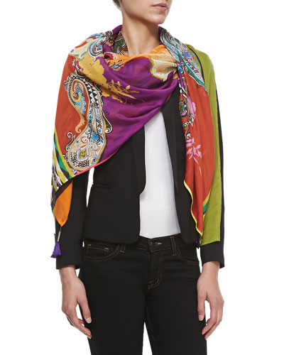 Large Paisley Wrap Scarf with Tassel Corners
