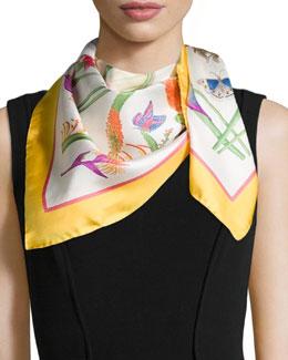 Floral-Print Foulard Scarf, White/Yellow