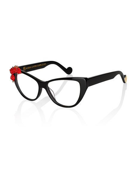 Anna-Karin Karlsson Lily Love Fashion Glasses, Black/Red