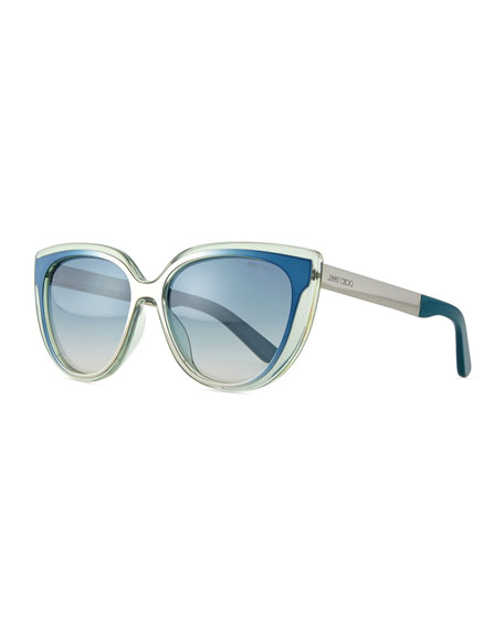 Jimmy Choo Cindy Cat-Eye Sunglasses, Aqua