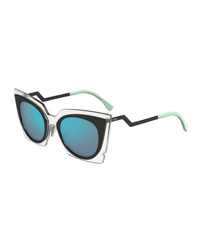 Runway Cat-Eye Sunglasses, Black/Clear