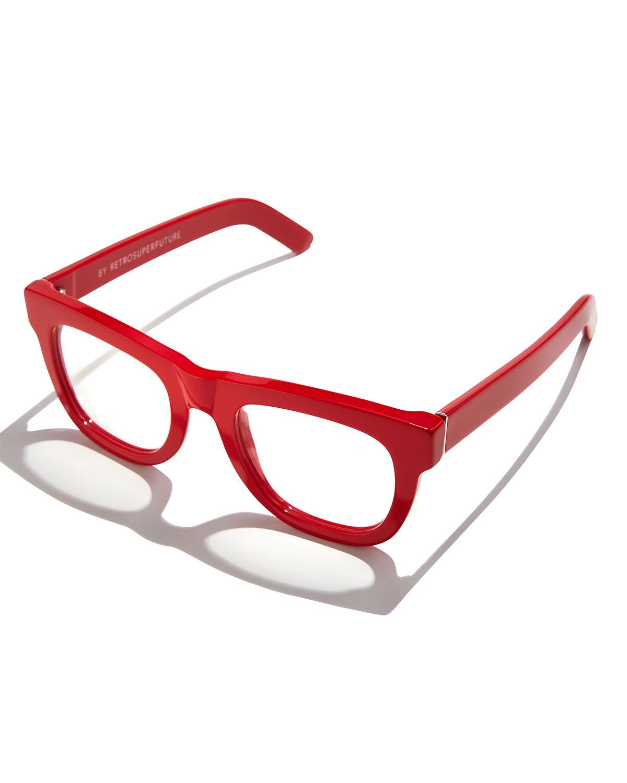 Super by Retrosuperfuture Ciccio Thick-Frame Fashion Glasses, Red ...
